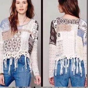 FREE PEOPLE||  Boho mixed material sweater